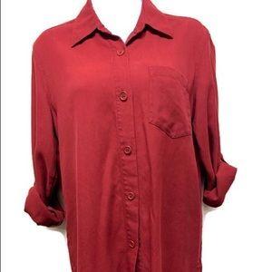 Lauren Ralph lauren button down shirt 4 red silk